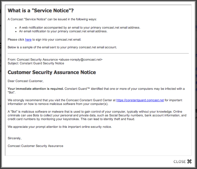 Phil Hagen's Scratch Pad | Comcast Sets Customers Up as Phishing Targets